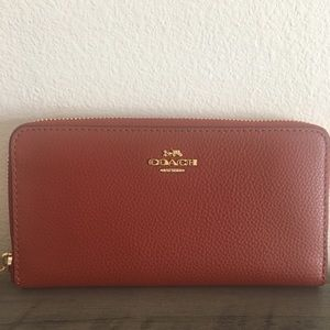 Coach Terracotta Pebble Leather Wallet NWT
